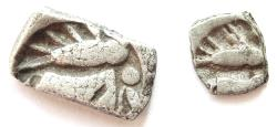 Ancient Coins - INDIA, SURASENA: Silver 1/2 karshapana + 1/8 karshapana. Lot of TWO DIFFERENT DENOMINATIONS. Extremely Rare.
