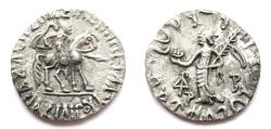 Ancient Coins - INDIA, SCYTHIAN: Azilises AR drachm. Rare Kharoshthi letter Sa. CHOICE.