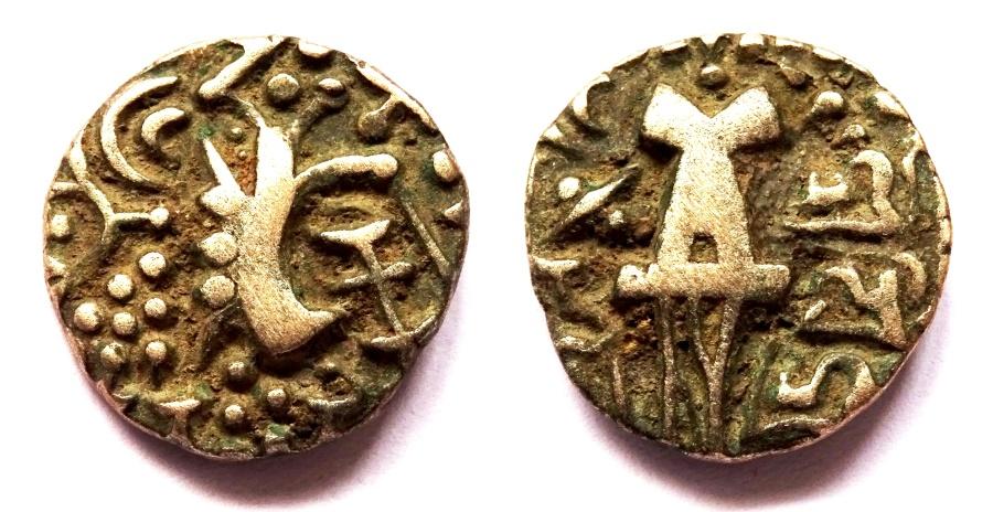Ancient Coins - INDIA, KIDARITES OF KASHMIR: Vigrahadeva base gold dinar. Scarce and CHOICE.