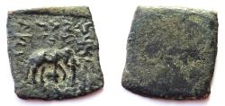 Ancient Coins - INDIA, INDO-GREEK: Zoilos II copper 1/16 unit. UNLISTED and RRR.