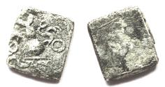 Ancient Coins - INDIA, SAURASHTRA JANAPADA: Punchmarked coin with triskeles. UNLISTED and Very Rare.