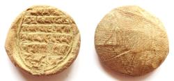 Ancient Coins - INDIA, EARLY MEDIEVAL: Terracotta sealing with Buddhist mantra. Rare and CHOICE.