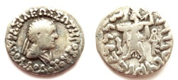Ancient Coins - INDIA, INDO-GREEK: Apollodotos II drachm. Very Rare and CHOICE.