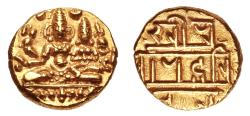 Ancient Coins - INDIA, VIJAYANAGAR: Harihara II gold ½ pagoda. Scarce and SUPERB.