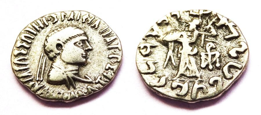 Ancient Coins - INDIA, INDO-GREEK: Apollodotos II drachm. Very Rare.