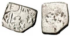 Ancient Coins - INDIA, MAURYA: Punchmarked silver karshapana with female figure. Scarce and CHOICE.