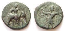 Ancient Coins - INDIA, KUSHAN: Huvishka elephant rider type with Pharro. Rare.