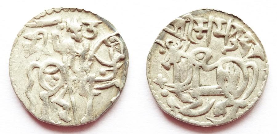 Ancient Coins - INDIA, SHAHI: Samanta Deva silver jital. Scarce and CHOICE.