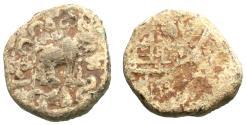 Ancient Coins - INDIA, SATAVAHANA: Gautamiputra Satakarni lead double unit. Very Rare.