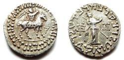 Ancient Coins - INDIA, INDO-SCYTHIAN: Azes silver tetradrachm. CHOICE.