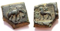 Ancient Coins - INDIA, TAXILA: Elephant and lion copper coin. RR this heavy! CHOICE.