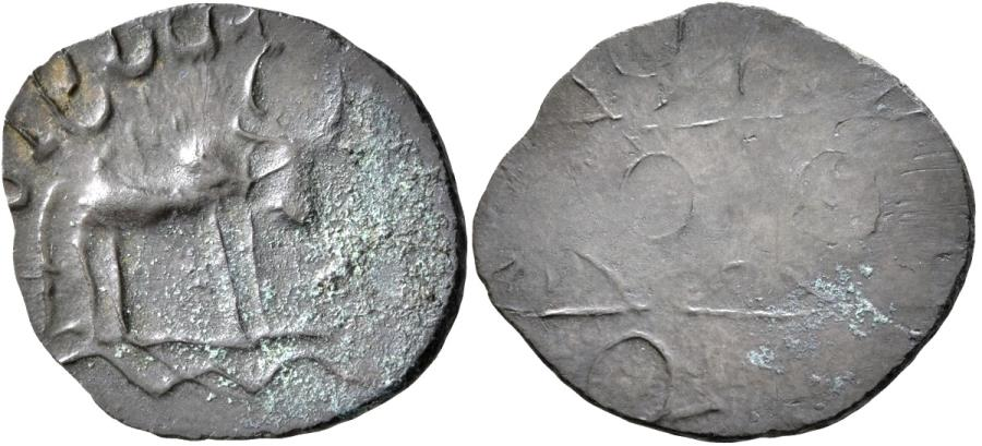 Ancient Coins - INDIA, BANAVASI: Vishnurudra Budhananda potin coin. Rare.