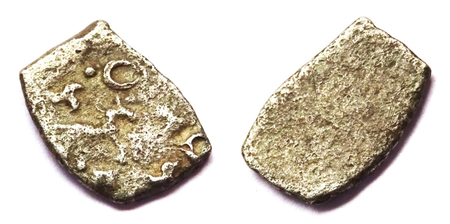 Ancient Coins - INDIA, SAURASHTRA JANAPADA: Punchmarked coin with horse. UNLISTED.