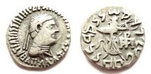 Ancient Coins - INDIA, INDO-GREEK: Apollodotos II drachm. Very Rare and CHOICE.