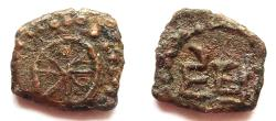 Ancient Coins - INDIA, MALWA: Jishnu copper coin with chakra. Rare and CHOICE.