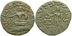 Ancient Coins - INDIA, INDO-SCYTHIAN: Azes I copper coin with Hermes. Scarce.