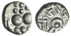Ancient Coins - INDIA, PARAMARAS: Bhojadeva silver dramma. Left-facing lion. UNLISTED and Very Rare.