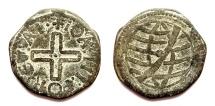 Ancient Coins - INDIA, PORTUGUESE: Joao III tin dinheiro. Scarce and CHOICE.