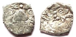 Ancient Coins - INDIA, SAURASHTRA JANAPADA: Punchmarked coin with fire altar. Rare and CHOICE.