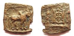 Ancient Coins - INDIA, INDO-GREEK: Apollodotos II copper unit. Very Rare.