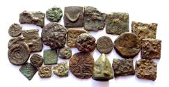 Ancient Coins - INDIA, POST-MAURYAN: Copper coins of northern India. Lot of 25.