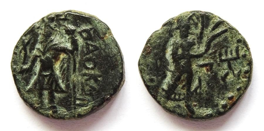 Ancient Coins - INDIA, KUSHAN: Kanishka copper ¼ unit with Nana. Scarce.