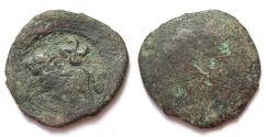 Ancient Coins - INDIA, TAXILA: Copper coin with lion and swastika. Very Rare.