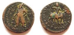 Ancient Coins - INDIA, KUSHAN: Vima Kadphises copper tetradrachm with Oesho and Nandi. CHOICE.