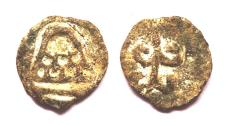 Ancient Coins - INDIA, ANANDAS OF BANAVASI: Small lead fraction with srivatsa. Only 1 gram! Very Rare.