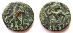 Ancient Coins - INDIA, KUSHAN: Kanishka copper drachm with frontal Oesho. Very Rare.