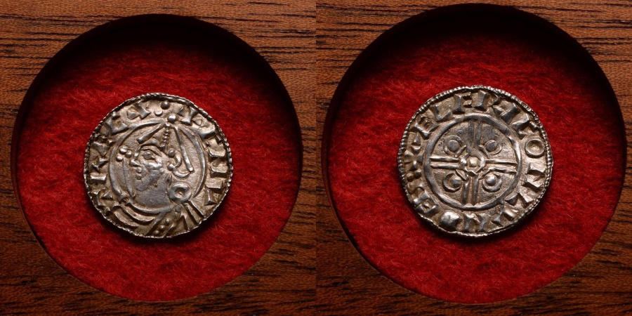 World Coins - Anglo Saxon London Mint Silver Helmet Penny Coin of King Cnut - 1016 AD