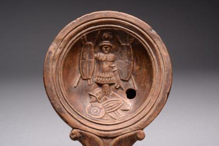 Ancient Coins - Ancient Roman Pottery Oil Lamp With Julius Caesar Denarius Trophy of War Scene - 100 AD