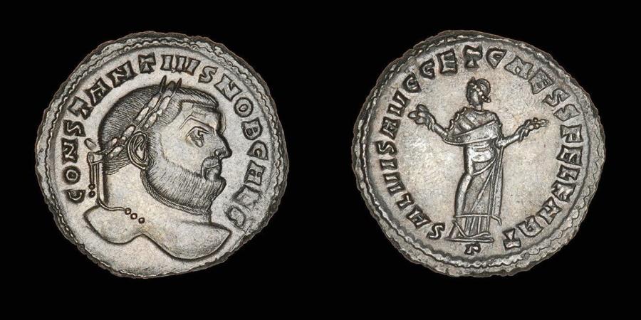 Ancient Coins - Large Ancient Roman Bronze Follis Coin of Emperor Constantius Chlorus - 293 AD