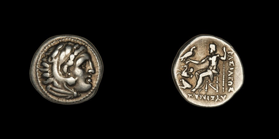 Ancient Coins - Ancient Greek Silver Alexander Drachm Coin of King Lysimachos - 299 BC