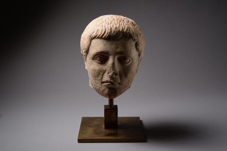 Ancient Coins - An ancient Roman Julio-Claudian marble portrait head, dating to 27 BC – 68 AD.