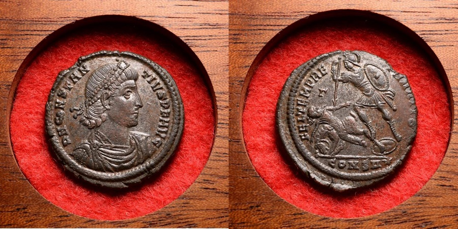 Ancient Coins - Ancient Roman Emperor Constantius II Centenionalis Maiorina Follis Coin - 337AD
