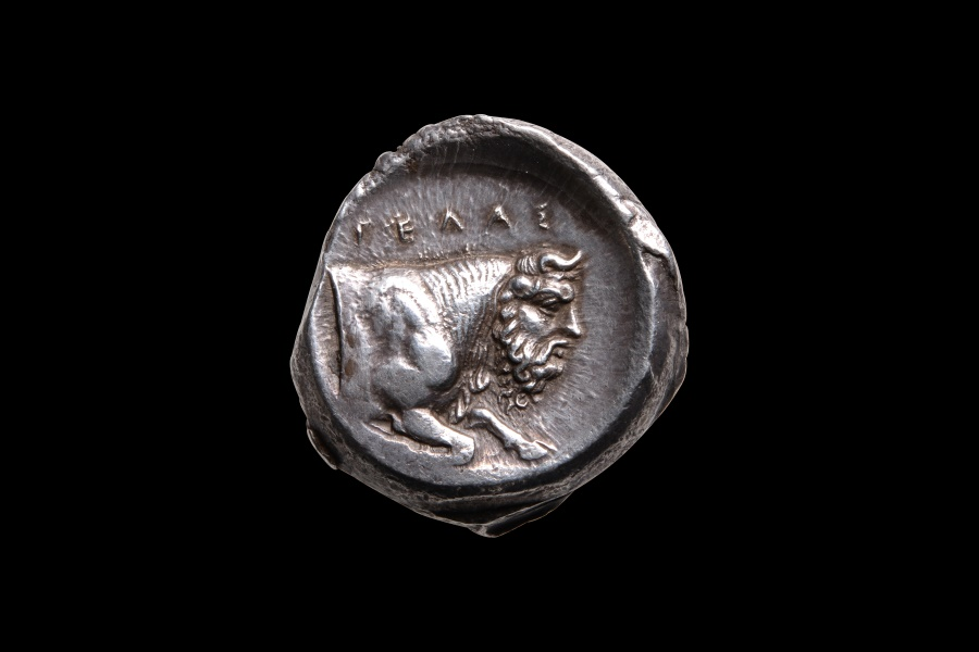 Ancient Coins - Ancient Greek Silver Tetradrachm Coin from Gela Sicily - 420 BC