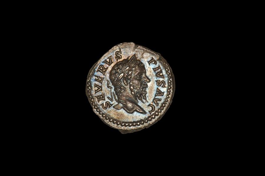 Ancient Coins - Ancient Roman Silver Denarius Coin of Emperor Septimius Severus - 210 AD