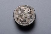 Ancient Roman Republican Silver Denarius Coin of Marcus Junius Silanus- 145 BC