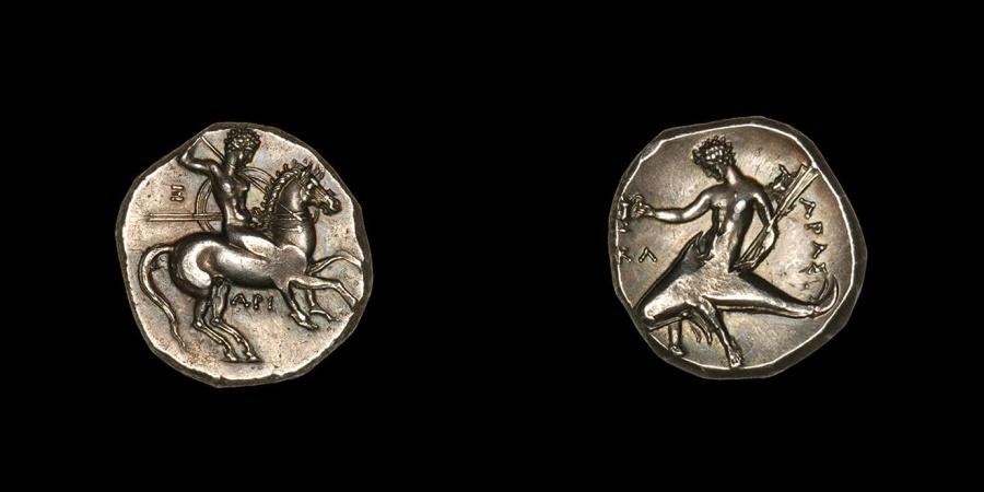 Ancient Coins - Ancient Greek Silver Didrachm Coin from Taras - 315 BC