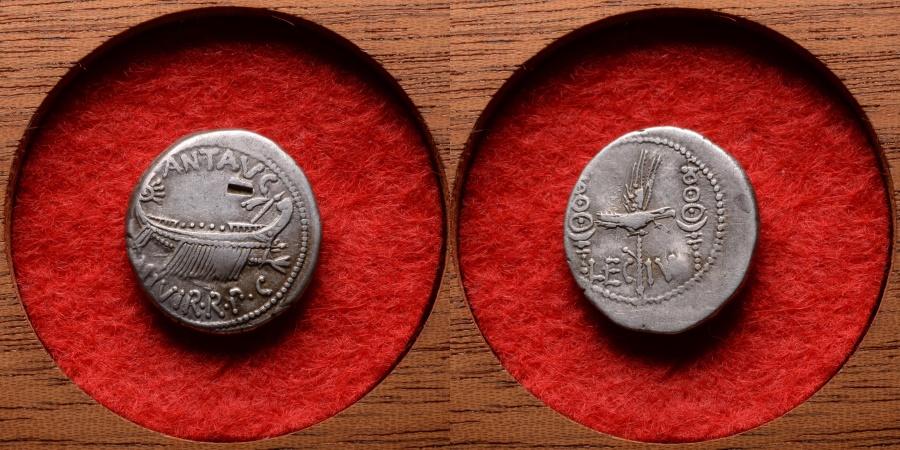 Ancient Coins - Ancient Roman Silver Legionary Denarius Coin of Triumvir Mark Antony - 32 BC