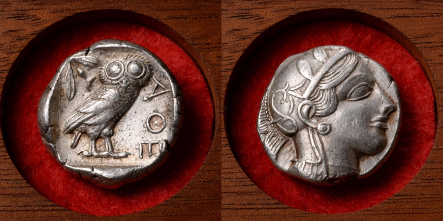 Ancient Coins - Ancient Greek Silver Owl Tetradrachm Coin from Athens - 454 BC