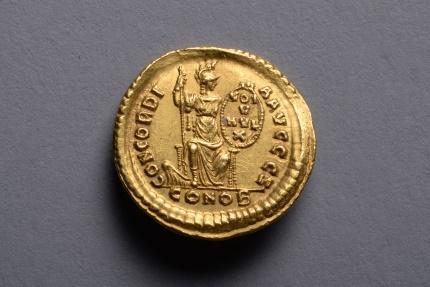 Ancient Coins - Ancient Roman Byzantine Gold Solidus Coin of Emperor Arcadius - 388 AD
