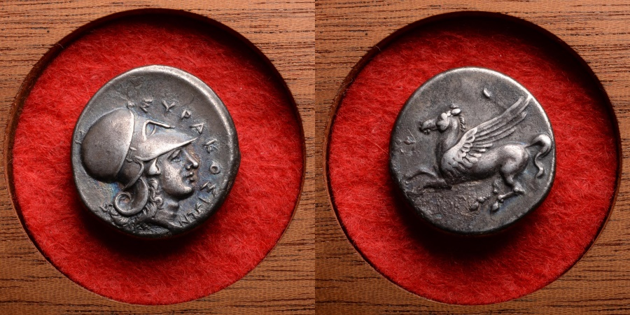 Ancient Coins - Ancient Greek Silver Corinth Stater Coin of Timoleon of Syracuse - 341 BC