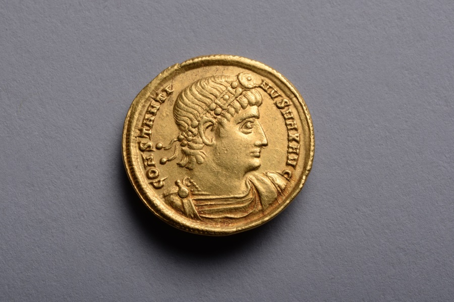Ancient Roman Gold Solidus Coin of Constantine the Great - 335 AD
