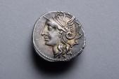 Ancient Roman Republican Silver Denarius Coin of Lucius Appuleius Saturninus - 104 BC