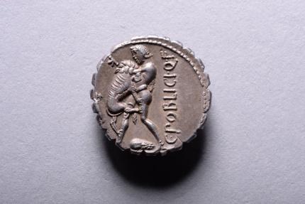 Ancient Coins - Ancient Roman Republican Silver Denarius Coin of Caius Poblicius - 80 BC