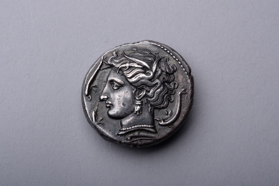 Ancient Coins - Ancient Greek Punic Silver Tetradrachm Coin from Sicily - 320 BC