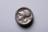 Ancient Coins - Ancient Greek Corinth Silver Akarnania Stater Coin from Argos Amphilochikon - 340 BC