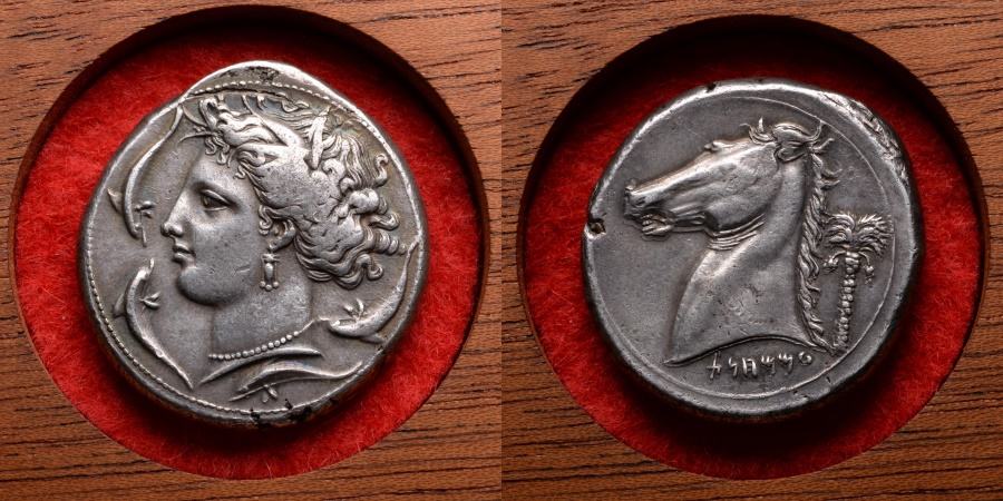 Ancient Coins - Beautiful Ancient Greek Punic Silver Tetradrachm Coin from Sicily - 320 BC